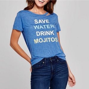 """Drink mojitos"" cut out tee shirt"